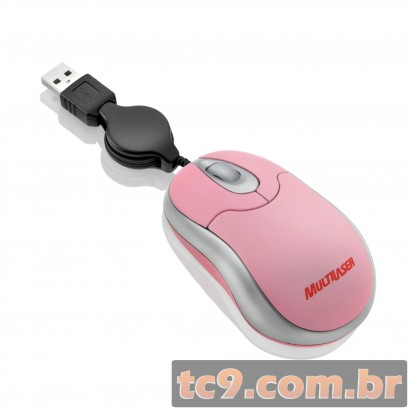 Mouse USB Mini com Cabo Retrátil