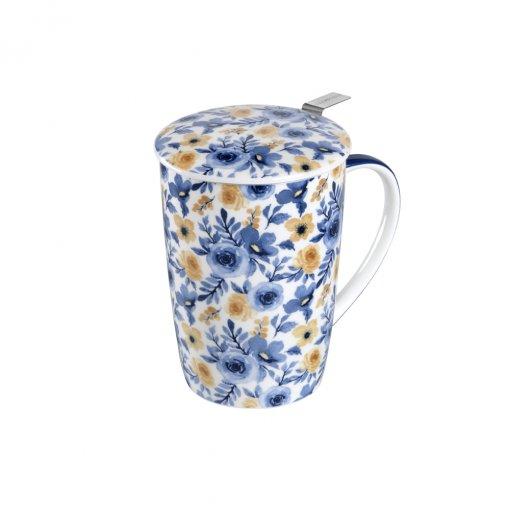 Caneca de Porcelana MUG SUPER JUMBO GOLD FLOWER - Tea Shop