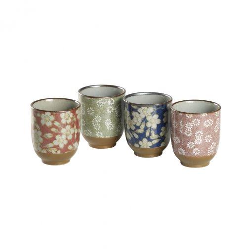 kIT 4 Copos florais artesanais - Tea Shop