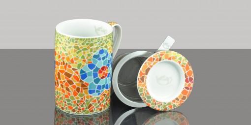 Mug Cylinder Mosaic Flower