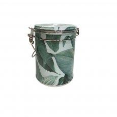 Imagem - LATA para armazenamento de chá FOLHAS VERDES REDONDA- Tea Shop