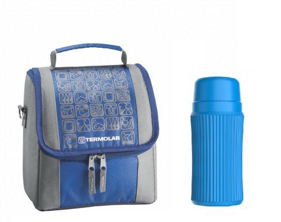 Imagem - Kit Bolsa Térmica Termobag 5L + Garrafa Térmica Minitermo 300ml Azul cód: KIT001