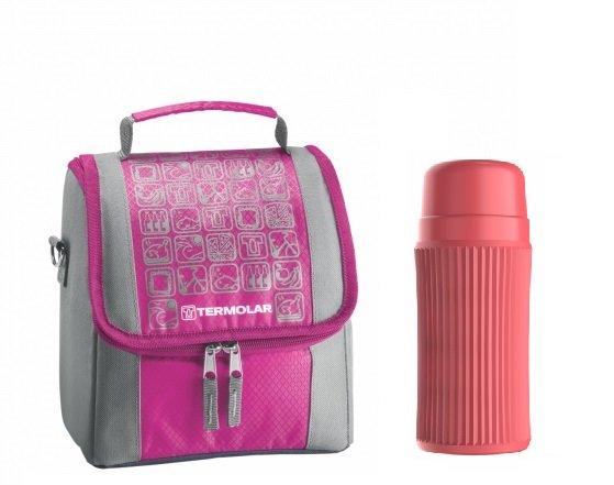 Imagem - Kit Bolsa Térmica Termobag 5L + Garrafa Térmica Minitermo 300ml Rosa cód: