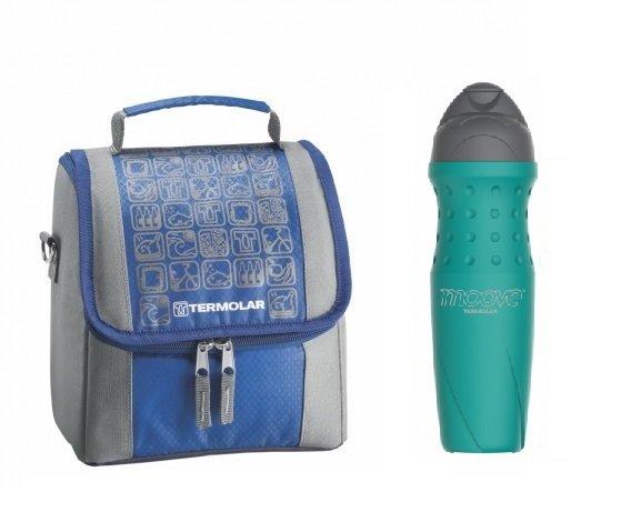 Imagem - Kit Bolsa Térmica Termobag 5L + Garrafa Térmica Squeeze Moove 450ml Azul cód: