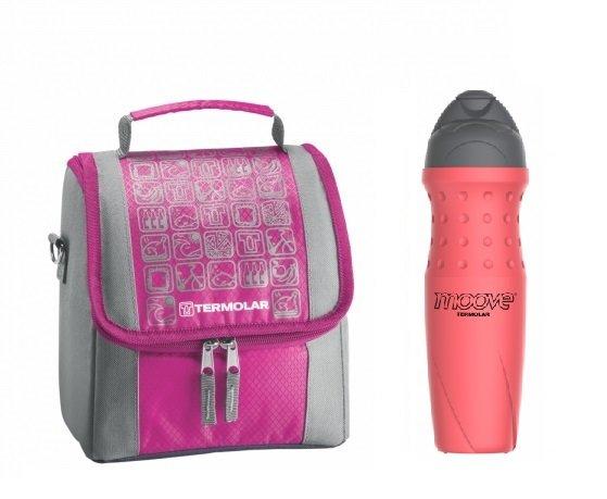 Kit Bolsa Térmica Termobag 5L + Garrafa Térmica Squeeze Moove 450ml Rosa