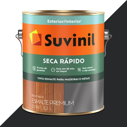 Tinta Esmalte Acetinado Preto Efeito Lousa Seca Rápido Suvinil 3,2l