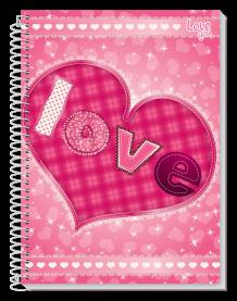 Imagem - Cadeno Espiral Love 10 Matérias 200 folhas Tottal cód: 6130055