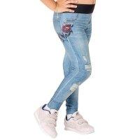 Calça Legging Live Reversível Infantil Rush Kids Flower Blue Jeans