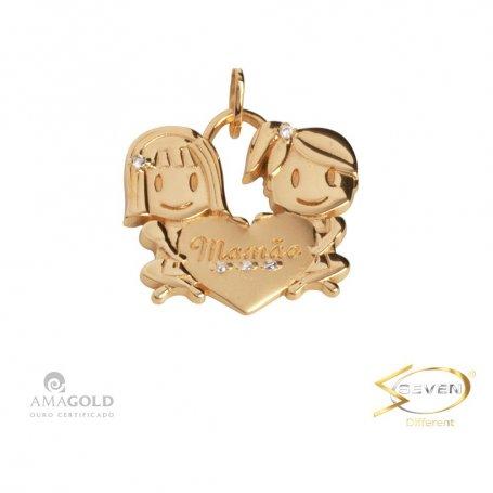 Pingente Ouro 18K Filhos Meninas Coração