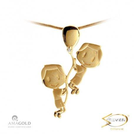 Pingente Ouro 18K Filhos Meninos Balão