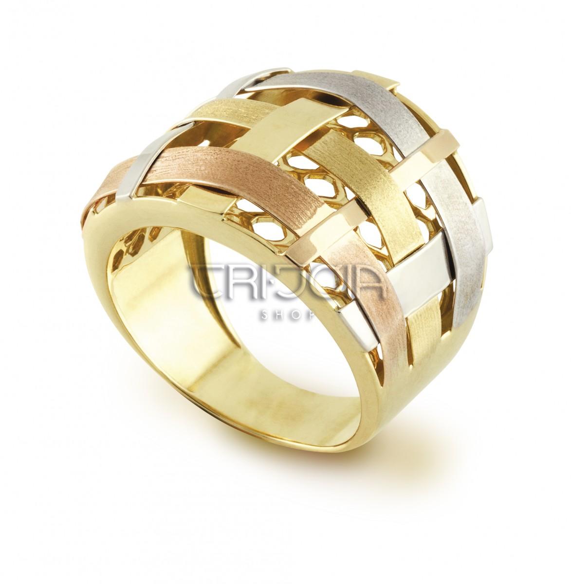 078ee96433027 Anel em ouro 18k 750au Transpaçado Tricolor