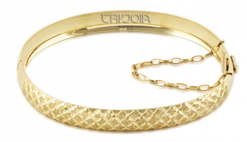 Bracelete Em Ouro 12k 416au Trabalhado Diamantado Algema