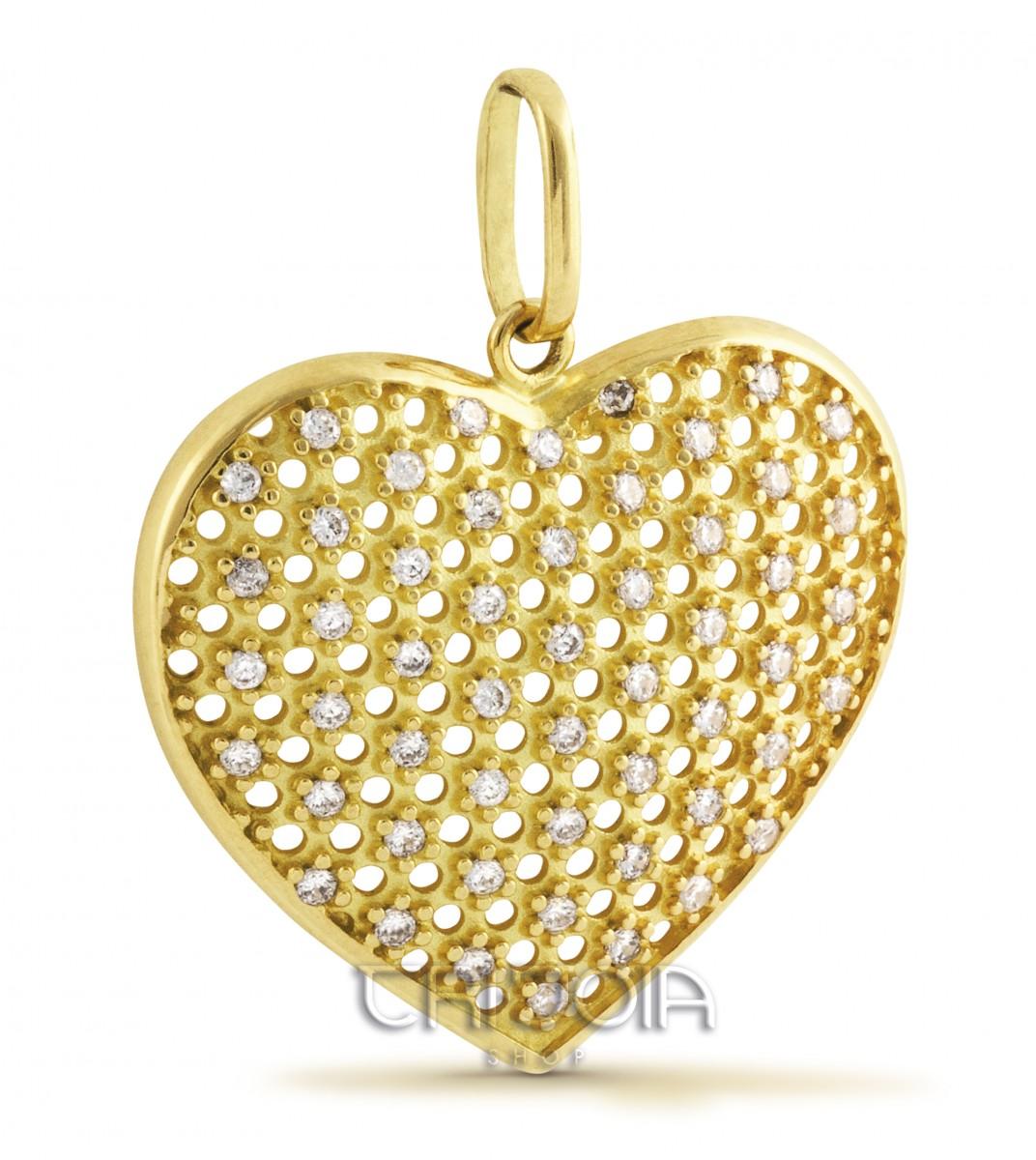 Pingente em ouro 18k 750au Coração Vazado com Pedras 3a8481834b