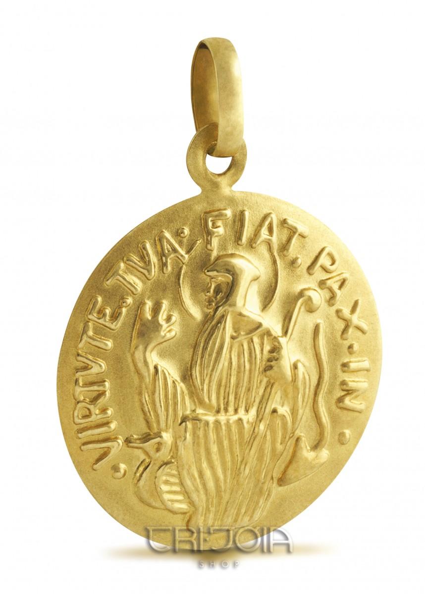 fa08af15cdeb5 Pingente em ouro 18k 750au Medalha São Bento