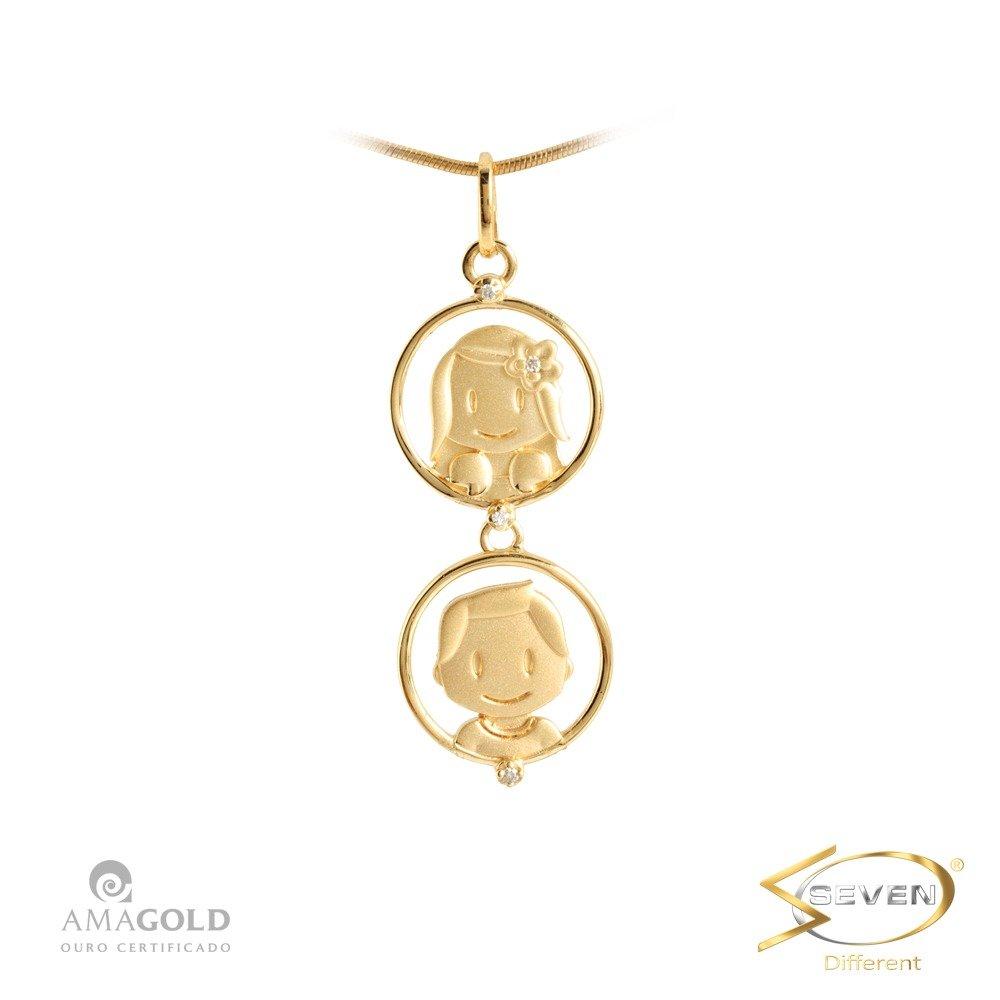 e07b2b6035b5e Compre Pingente Ouro 18K Filhos Casal Bolinhas em 10X   Tri-Jóia Shop