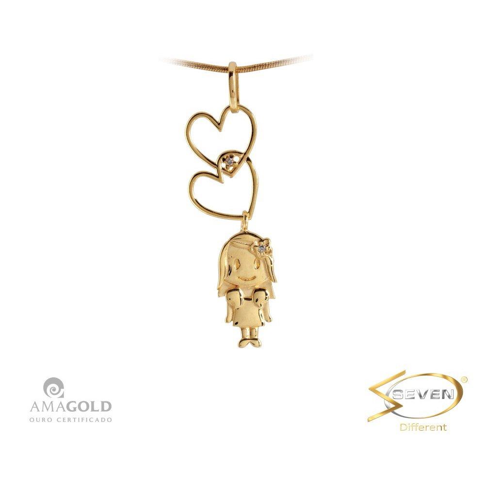 50af3041d0f5d Compre Pingente Ouro 18K Filhos Menina Corações Pendurados em 10X   Tri-Jóia  Shop