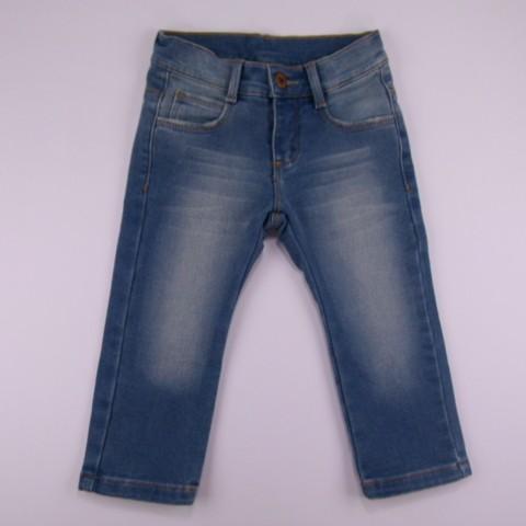 Calça jeans com detalhe gastado na coxa - Joy