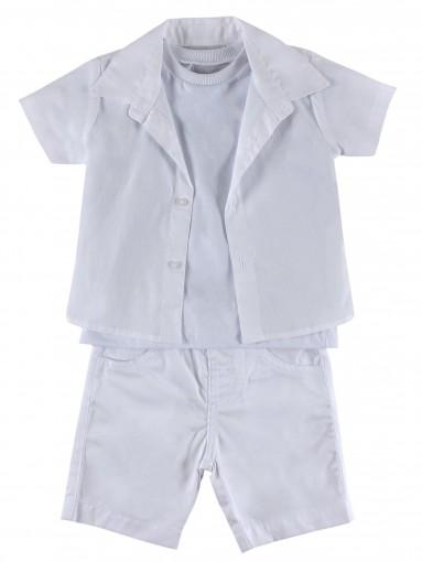 Conjunto 3 peças Bermuda Camisa e Camiseta Barbara Kids - 029677