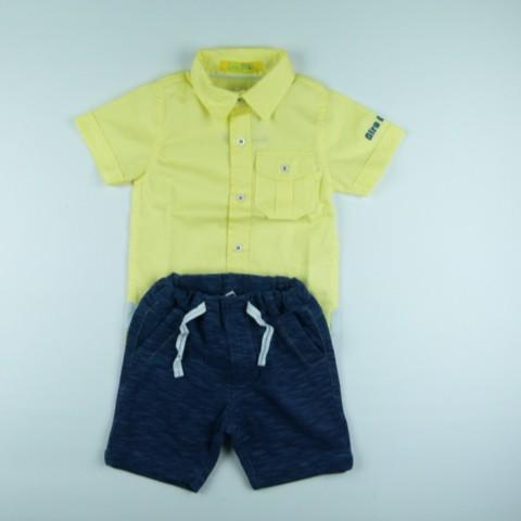 Conjunto Camisa Tricoline e Bermuda gb Jeans Gira Baby - 029274