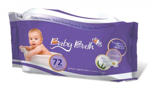 Lenços umedecidos a base d'água com 72 unidades - Baby Bath