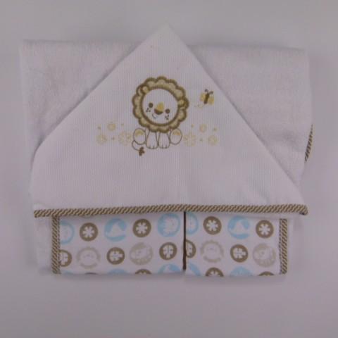 Toalha com Capuz Bordado Leãozinho Fischer Price - 027418
