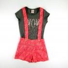 Conjunto Blusa Cotton e Shorts Estampado com Suspensório Brandili - 035783