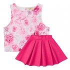 Conjunto blusa e saia com estampa de rosas - Vic&Vicky