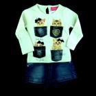 Conjunto Blusa e Shorts Jeans Gatos Momi - 038313