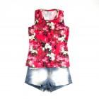 Conjunto Blusa Regata Floral e Shorts Jeans Pakita - 035236