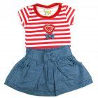 Conjunto body listrado e saia jeans - Have Fun - 039734
