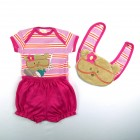 Conjunto Body Manga Curta com Short e Babador Ursinha Best Club - 035407