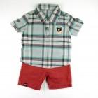 Conjunto Camisa Xadrez Camiseta e Bermuda Ok & Friends - 035245