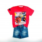 Conjunto Camiseta e Bermuda Jeans Comfort Banana Danger - 034797