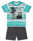 Conjunto camiseta listrada com estampa e bermuda - Brandili - 040610