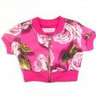 Jaqueta manga curta com estampa de rosas - Pituchinhus