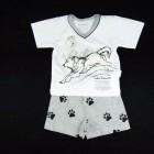 Pijama Curto Malha Lobo Cara de Criança - 034125