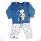 Pijama Longo Malha Biel Bike Cara de Criança - 030943
