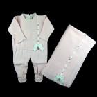 Saída de Maternidade Macacão e Manta Passa Fita Petit Mouton - 038239
