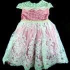 Vestido Plissado com Cinto de Pérolas Laços de Menina - 038567
