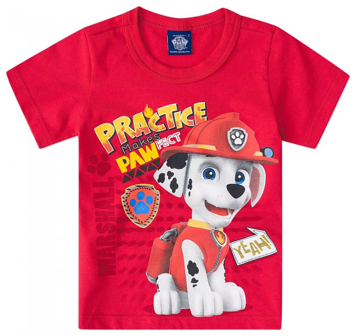 Camiseta manga curta Patrulha Canina - Malwee Vermelho  3748ea120e4