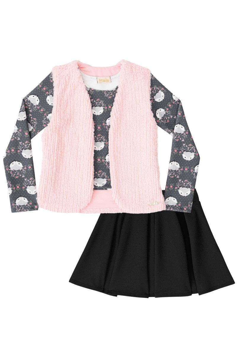 d835bf1a029bbc Conjunto blusa com colete e saia - Kukiê
