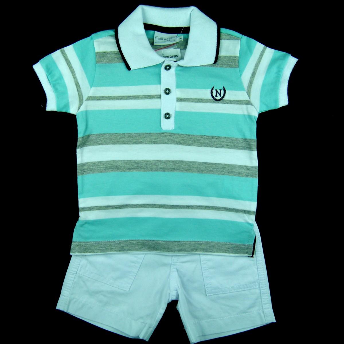 Conjunto Camisa Listrada Polo com Bermuda Noruega - 036202 Azul ... 200247e0f0e10
