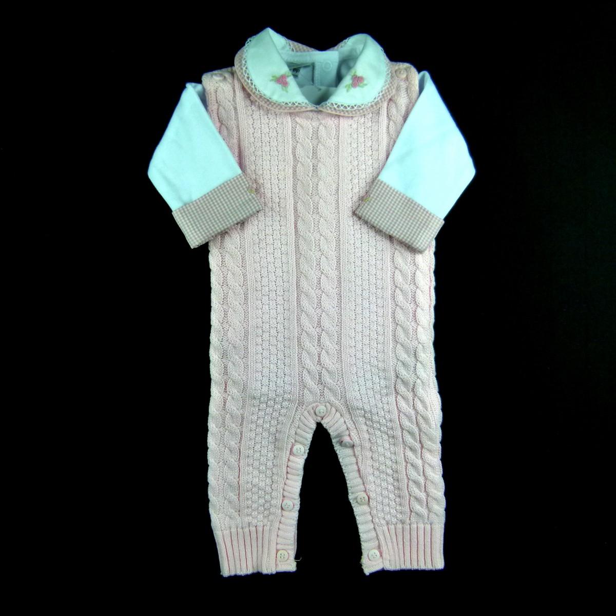 Conjunto Macacão de Tricot e Body Gola Dupla Bee Baby - 038966 Rosa ... 9c425b86e00