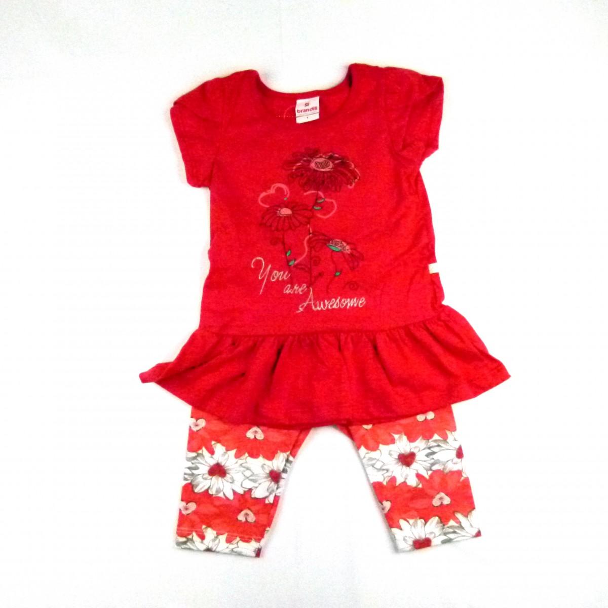 11d46d8f02e Conjunto Mini Vestido e Legging Estp Flores Brandili - 033709 Vermelho