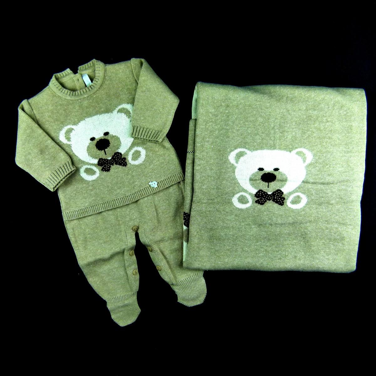 f44bff0717 Saída de Maternidade Macacão e Manta Urso Jacquard Petit Mouton - 038237  Bege