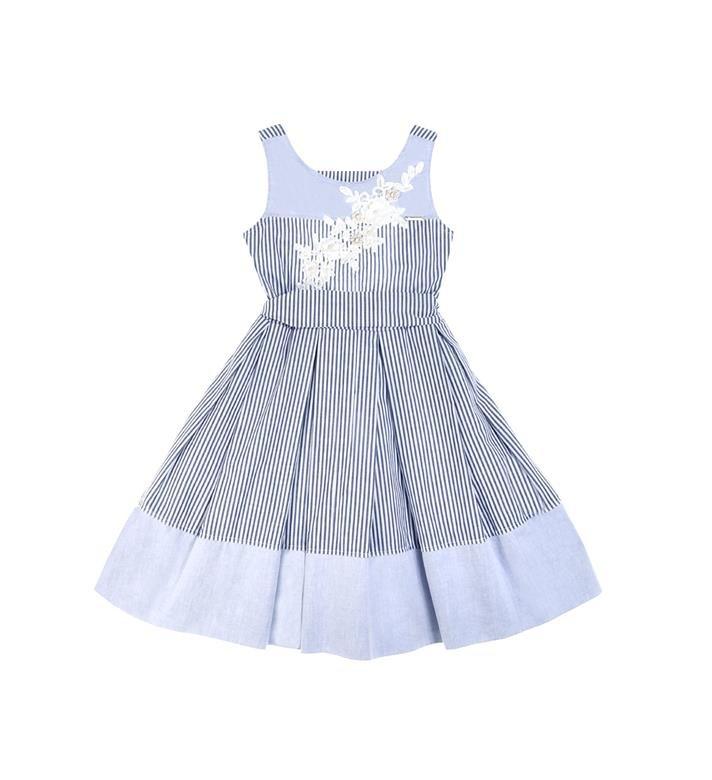 efac547cef Vestido Listrado infantil Pituchinhus Azul 047115