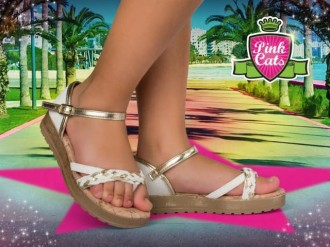 Imagem - Sandália Flatform Infantil Menina Pink Cats W9421 - 20000122W94212