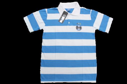 Camisa Polo Listrada azul/branca Masculina Pique Grêmio