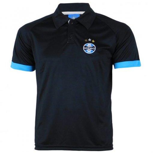 Camisa Polo Masculina Dry Preta Grêmio