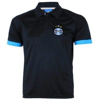 Imagem - Camisa Polo Masculina Dry Preta Grêmio cód: G619